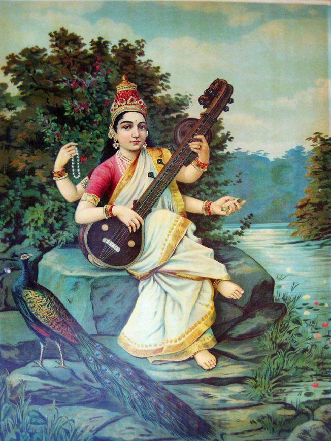Saraswati_by_Raja_Ravi_Varma